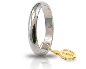 Fede Matrimonio in Oro Bianco Classica Gr. 4 Brand